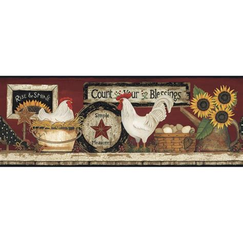 country kitchen wallpaper borders york wallcoverings hen and rooster wallpaper border 6175