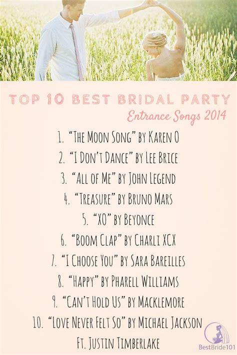 bridal party entrance songs top  bridal entrance