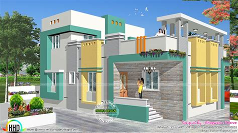 2 bedroom Indian home design with plan - Kerala home
