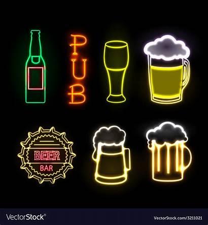Neon Beer Sign Bar Vector Vectorstock Royalty