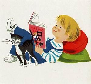 Vintage children's book illustration - boy and cat reading ...