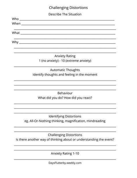 13 powerful cognitive activities for adults. Challenging Cognitive Distortions Worksheet, FREE Printable | Fibromyalgia | Pinterest ...