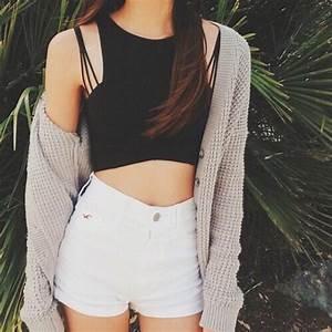 Shorts: shirt, crop, crop tops, black crop top, black ...