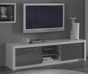 Meuble Tv Plasma Fano Laque Blanc Et Gris Brillant Blanc