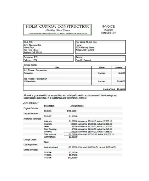 construction invoice examples samples word