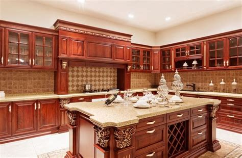 kitchen island remodel cherry kitchen cabinets with gray wall and quartz