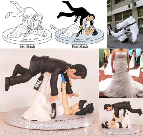 bride throwing groom   head jiu jitsu wedding cake