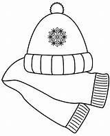 Scarf Coloring Winter Hat Clipart Hats Scarves Clip Printable Clothes Template Christmas Clothing Hiver Saison Mittens Cap Jeffersonclan Nature Templates sketch template
