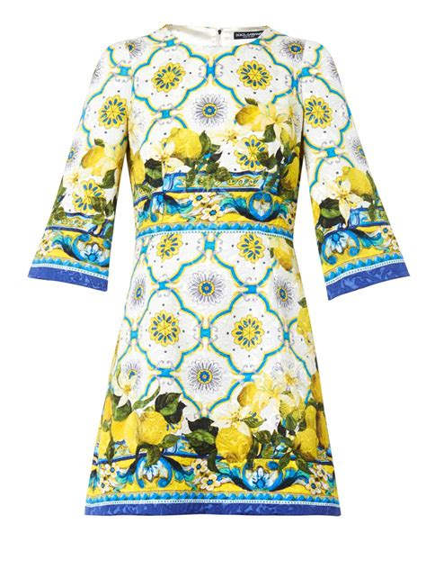 lyst dolce gabbana sicilian lemonprint jacquard dress