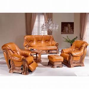 salon rustique cuvette darwin canape cuir chene With canapé cuir et bois rustique