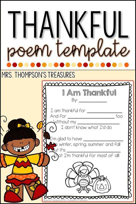 thankful thanksgiving poem classroom freebies