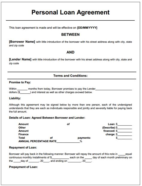 printable personal loan agreement form generic