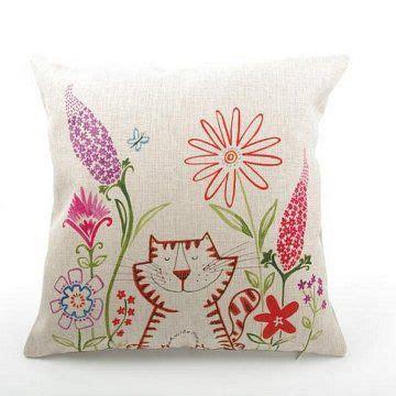 cartoon pillow cat  flowers linen creative throw pillow  sofa  images creative