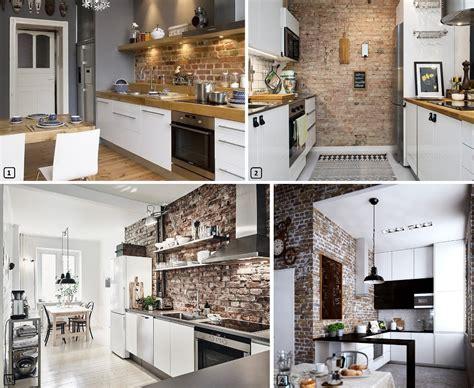briques cuisine cuisine brique top cuisine aux briques bicolore with
