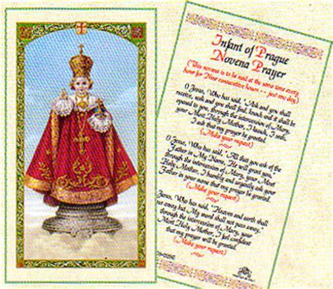 infant  prague novena laminated prayer card
