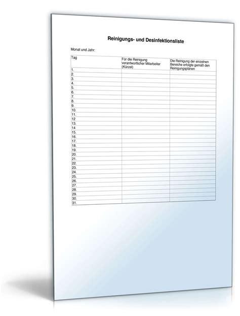 reinigungs und desinfektionsliste muster zum