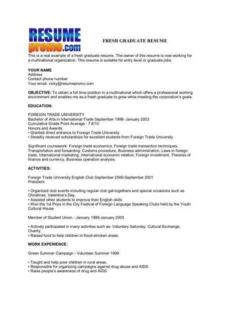 Resume Script For Fresh Graduate by Fresh Graduate Resume