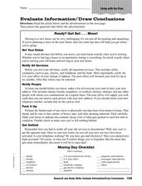 Research And Study Skills Evaluate Informationdraw Conclusions 4th  5th Grade Worksheet