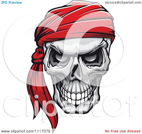 vector clipart evil skull   red bandana royalty  graphic illustration  vector