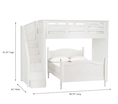 6342 bunk beds with stairs stair loft bed lower bed set pottery barn