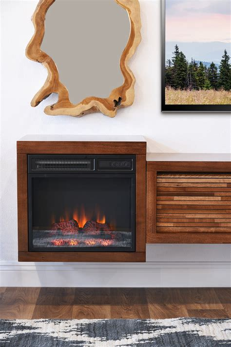 Wall Mount Fireplace Floating Tv Stand Eco Geo Mocha
