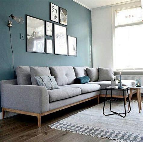 deco salon canape gris déco salon mur bleu canapé gris chiné applique style