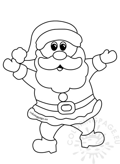 cheerful santa claus christmas cartoon outline coloring page