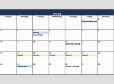 Make a 2017 Calendar in Excel includes free template
