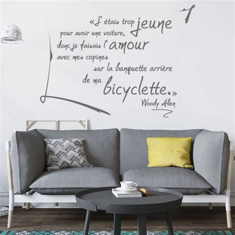 la cuisine citation stickers muraux citation woody allen ma bicyclette