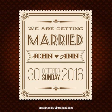 Wedding retro invitation card Free Vector