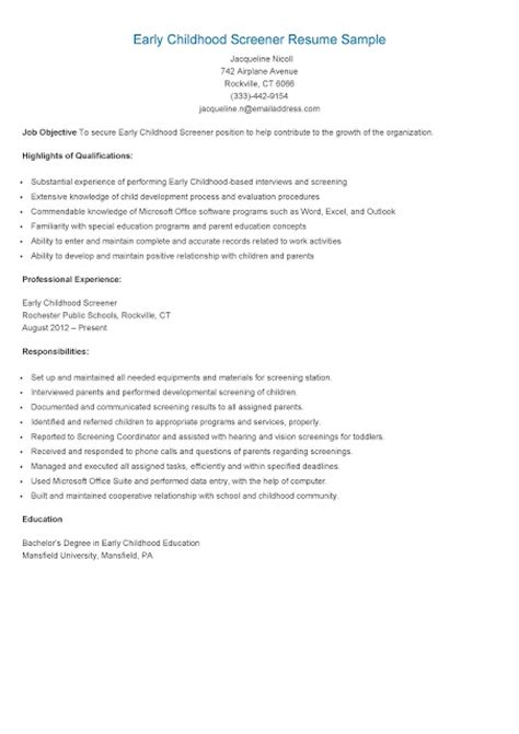 Early Childhood Resume Objective by Resume Sles Early Childhood Screener Resume Sle