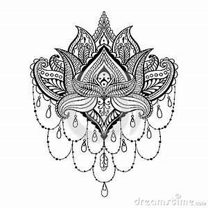 Henna Muster Schablone : vector dekoratives lotus ethnische zentangled hennastraucht towierung muster vektor abbildung ~ Frokenaadalensverden.com Haus und Dekorationen
