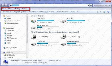 afficher le bureau windows 7 afficher la barre des menus avec windows 7 lecoindunet