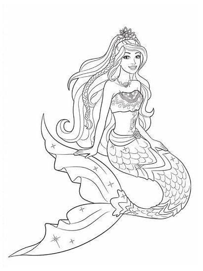 Princess Coloring Barbie Mermaid Mewarnai Gambar Untuk