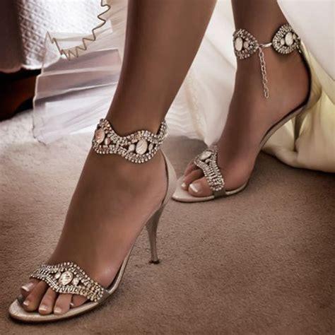sandals open toe rhinestone stilettos  wedding