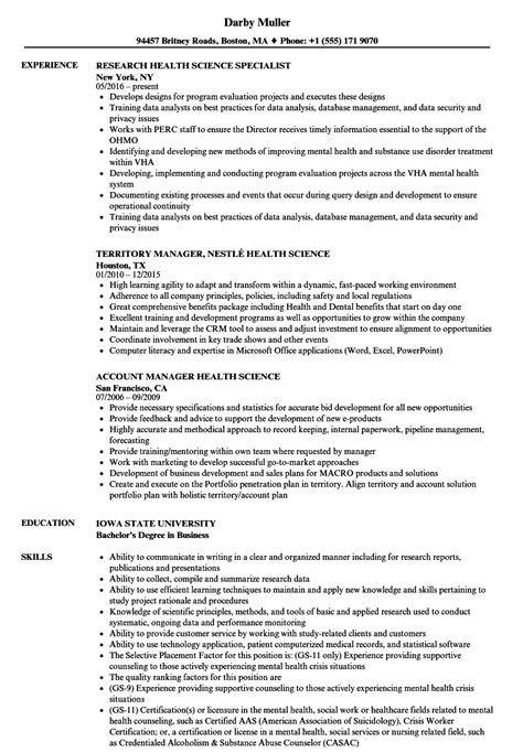 Health Resume by Health Science Resume Sles Velvet