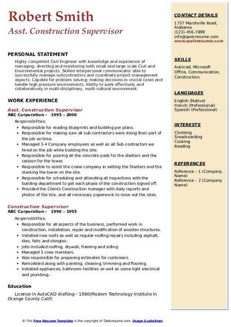 construction supervisor resume samples qwikresume