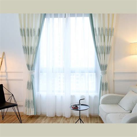 white linen and cotton embroidery country curtains for