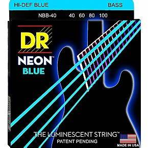 DR Strings Hi Def NEON Blue Coated Lite 4 String Bass