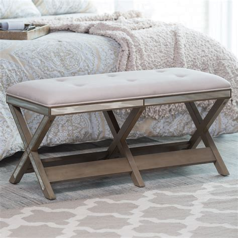 belham living cushioned indoor bench  mirrored frame