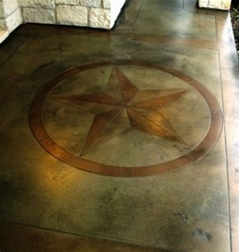 Texas star stained concrete patio w/ border edging   I