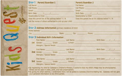 registration card gateway church childrens ministry