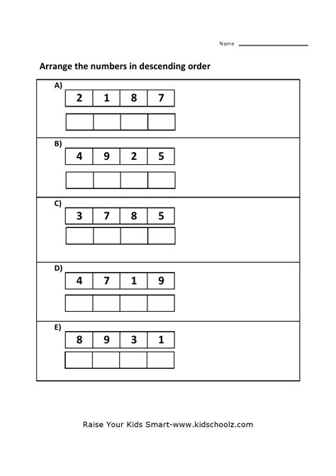 math worksheets for grade 2 ascending descending