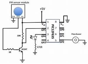 Motion Sensor Using Pir Sensor Module With Pic