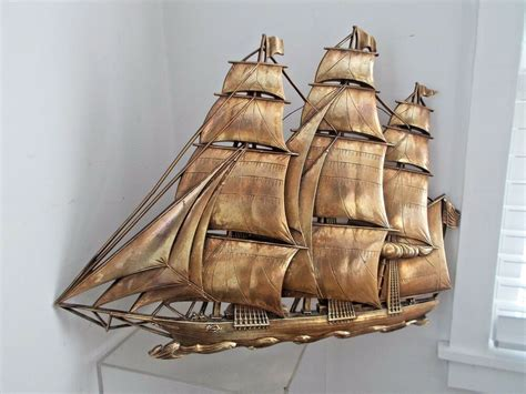 """This fleet of sailboats brings a cool breeze and a relaxed, nautical vibe to any home. VINTAGE LARGE 27"""" SYROCO 3-D GOLD CLIPPER SHIP, NAUTICAL WALL ART DECOR / PLAQUE 