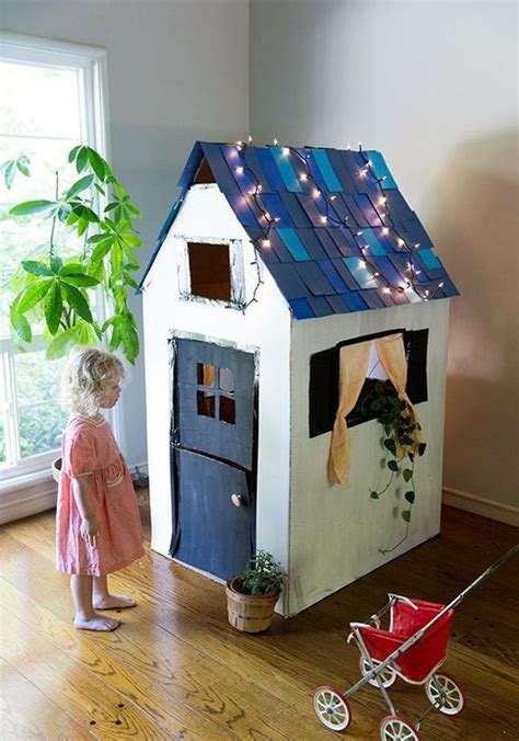 awesome cardboard playhouse design  kids homemydesign