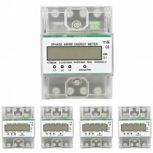 Kwh Meter Digital 3 Phase 4 Wire Din Rail Electric Meter Electronic With Transparent Cover