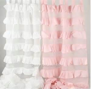 shabby petticoat ruffle curtains drapes sheer pink 2 ruffled panels chic ebay