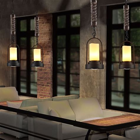 chandelier cafe european style retro industrial led candlestick