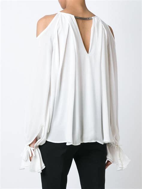 cold shoulder blouses plein sud cold shoulder blouse in white lyst